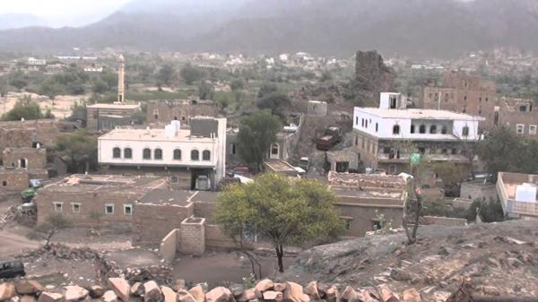 قصف مدفعي حوثي استهدف قرية غربي الضالع