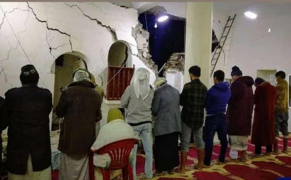 انهيار مسجد وعدد من المنازل في مديرية السدة بسبب الامطار الغزيرة