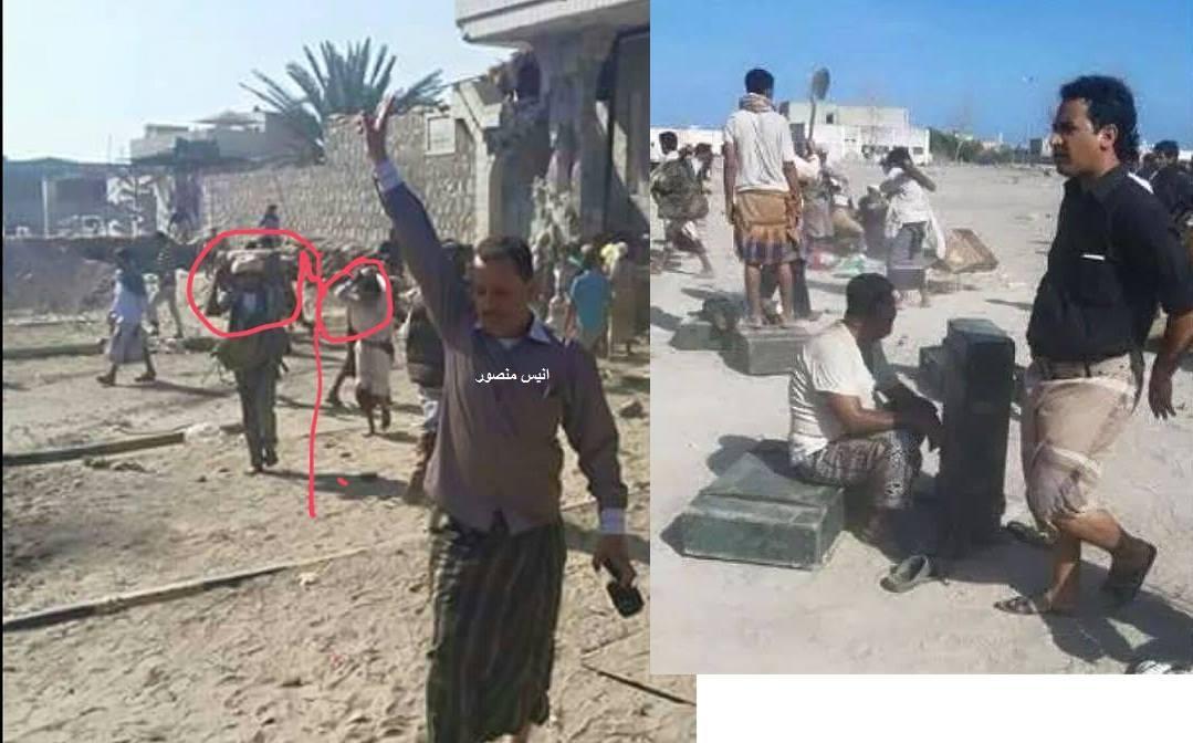 صورة تداولها ناشطون في موقع التواصل فيسبوك يوم الخميس، تظهر نهب معسكر قوات الأمن الخاصة من قبل لجان هادي