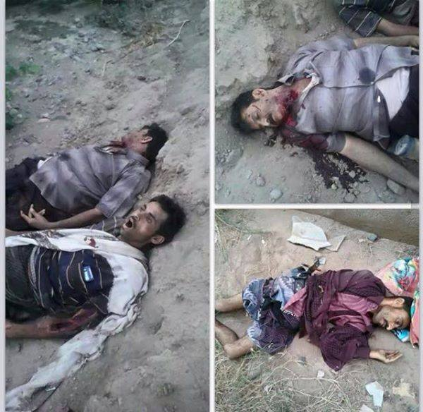 جنود ومسئولون أمنيون يمنيون تعرضوا لإعدامات وتصفيات جماعية من قبل مسلحي اللجان الموالية لهادي وعناصر القاعدة في مدينة الحوطة عاصمة محافظة لحج جنوب اليمن يوم الجمعة 20 مارس / آذار 2015