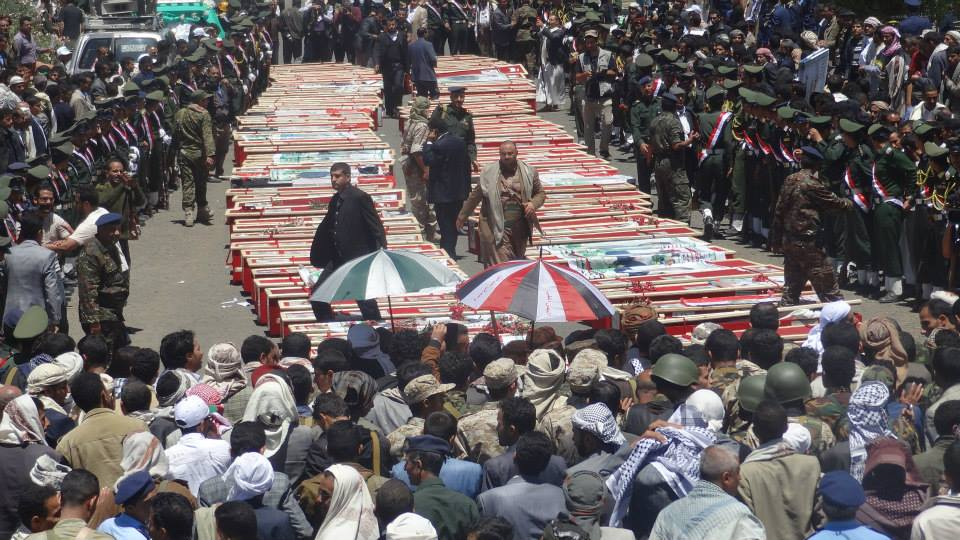 تشييع شهداء تفجيرات تفجيرات الجمعة، بمسجدي بدر والحشوش في صنعاء- ميدان السبعين صباح الاربعاء 25 مارس 2015
