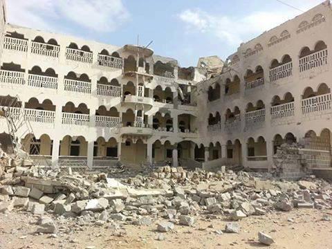 طيران العدوان السعودي يستهدف مستشفى عتق بمحافظة شبوة