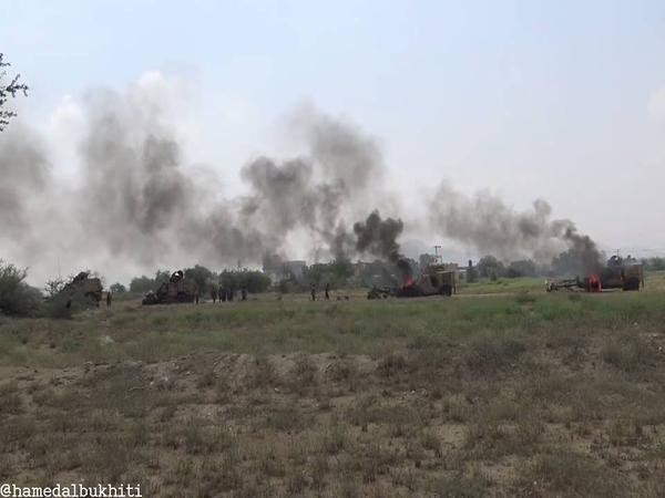 احتراق آليات عسكرية سعودية في أحد المواقع التي وصلت إليها عمليات الجيش اليمني واللجان الشعبية